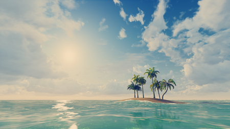 Small tropical island with a few palm trees at daytime Stock Photo
