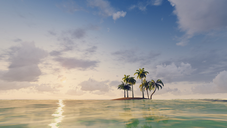 islet: Tropical islet with a few palm trees among ocean at sunset