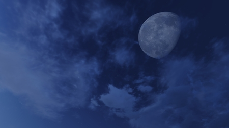 waning moon: Cloudy night sky with fantastic demilune and stars Stock Photo