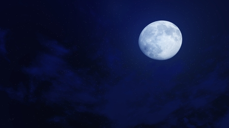 Big full moon in a dark night sky