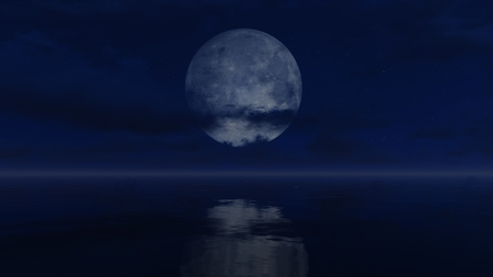 mirror on the water: Cloudy night sky with a big full moon above mirror water surface Stock Photo