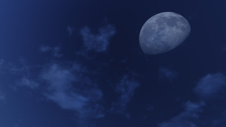waning moon: Fantastic demilune and stars in a cloudy night sky