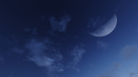 waning moon: Demilune in a cloudy nighttime sky