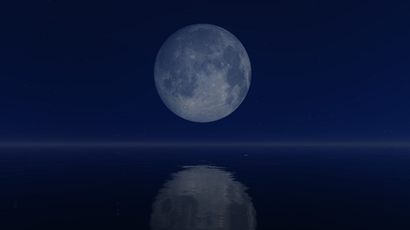 mirror on the water: Cloudless night sky with a big full moon above mirror water surface Stock Photo