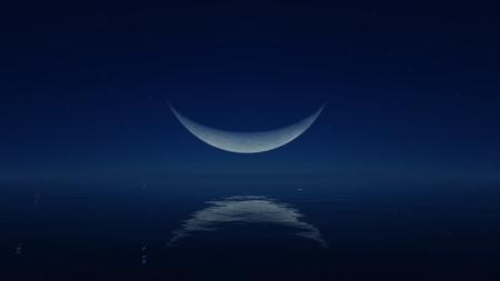 waning moon: Cloudless night with fantastic big demilune above mirror water surface Stock Photo