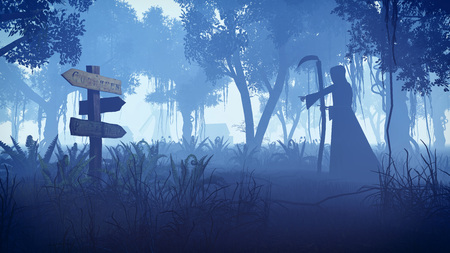 doom: Scary night forest with silhouette of a grim reaper moving towards the small village