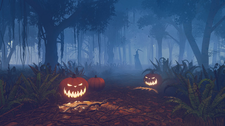 Halloween pumpkins and grim reaper silhouette in a dark forest