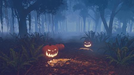 Halloween pumpkins on the trail through the dark misty forest Zdjęcie Seryjne