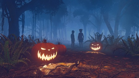 spooky forest: Halloween pumpkins on foreground and silhouettes of two children in the distance in night forest