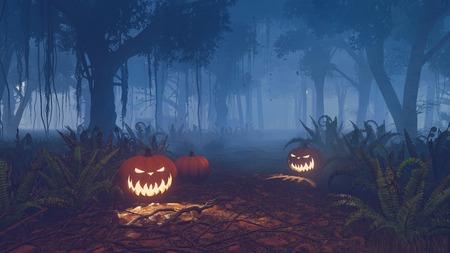 calabazas de halloween: Calabazas de Halloween en la pista forestal en la noche brumosa Foto de archivo