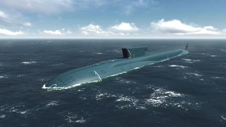 afloat: Russian nuclear Borei class submarine in surfaced position