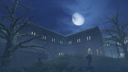 mansion: Fantastic big moon above old romantic mansion at misty night