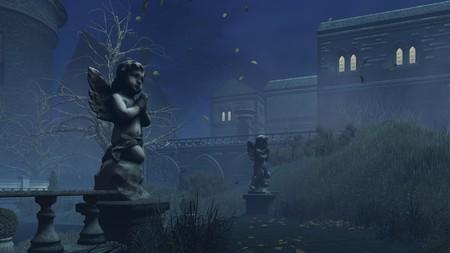 cupids: Cupids sculpture at misty autumn night