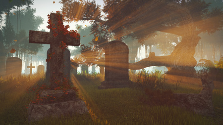 gravestones: Old abandoned gravestones at sunset in autumn time. Realistic 3D illustration was done from my own 3D rendering file.