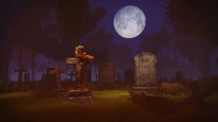 obelisk stone: Abandoned spooky cemetery under big full moon. Realistic 3D illustration was done from my own 3D rendering file.