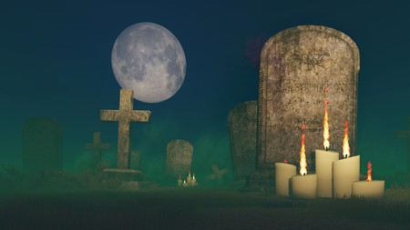 lighted: Lighted candles near the old tombstone at moonlight night