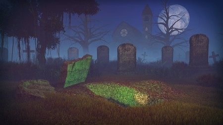 dug: Freshly dug grave at scary night cemetery under big full moon