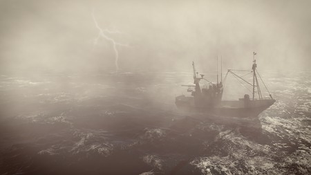 Heavy storm in the open sea with small fishing boat at foreground and with lightning flashes in the distance Stock Photo