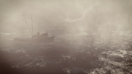 distress: Heavy storm in the open sea with small trawler at foreground and with lightning flashes in the distance