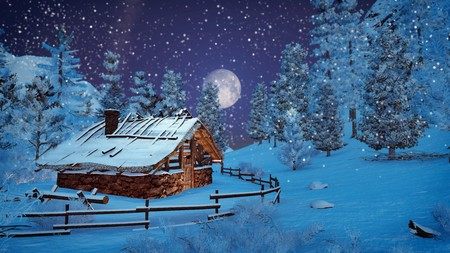 Cozy little cabin among snowy firs at snowfall night with fantastic big full moon