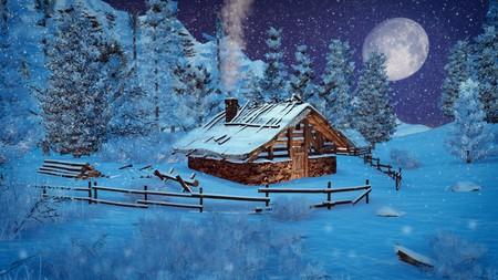 dreamlike: Dreamlike winter scene. Cozy little hut among snowy firs high in mountains at snowfall night with big moon