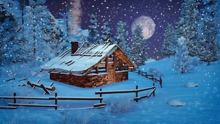 dreamlike: Dreamlike winter scenery. Cozy little hut among snowy spruces at snowfall night with big full moon