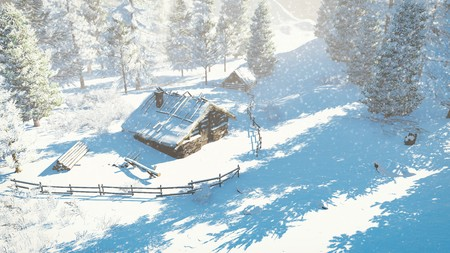 topdown: Top-down view on a cozy little cabin among snowy firs high in mountains at snowfall Stock Photo