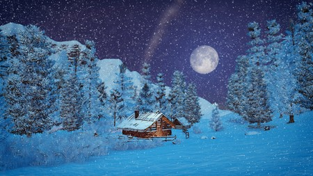 Little hut high in mountains at snowfall night with big full moon