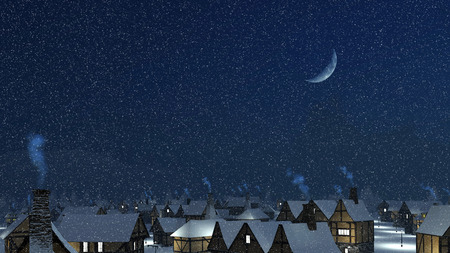 half moon: Dreamlike winter townscape. Snow-covered roofs with smoking chimneys at snowfall night with a half moon in the sky. Stock Photo