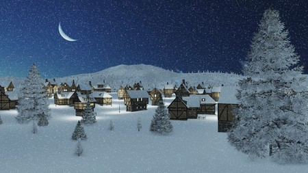 Dreamlike winter scenery. Snowbound traditional european township and snowy firs at snowfall night with a crescent in the sky. Stock Photo