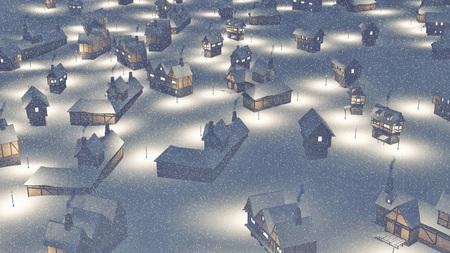 dreamlike: Dreamlike township at snowfall night Aerial view