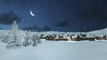 scene: Dreamlike winter scene. Snowbound traditional european township and snowy firs at snowfall night with a half moon.
