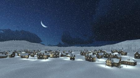 Cozy snowbound european village at snowfall winter night with a half moon