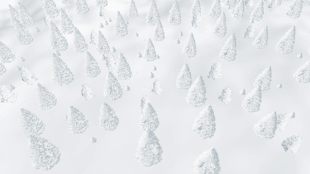 topdown: Natural abstract winter background. Top-down view on a fir forest completely covered with snow. Stock Photo