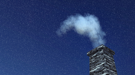 close up chimney: Close-up of the old house chimney with smoke against dark blue sky at snowfall night