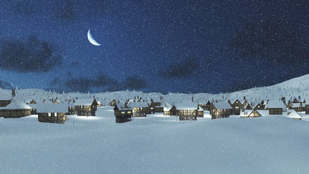Snowbound european township at snowfall winter night with a crescent in the sky Imagens
