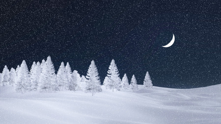 half moon: Decorative winter scenery with white silhouettes of frosty fir trees at snowfall night with a half moon