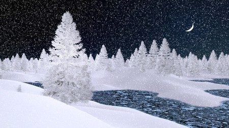 dreamlike: Dreamlike winter scenery with snowy fir trees and frozen river at snowfall night with a crescent in the sky