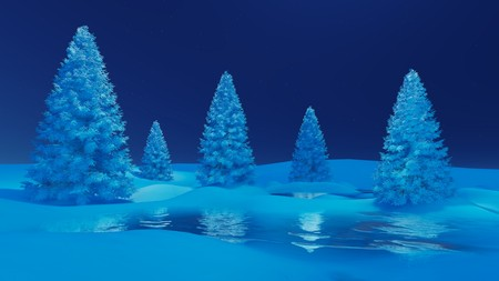 snowbanks: Dreamlike winter scenery. Snow-covered spruces and frozen lake among snowbanks.
