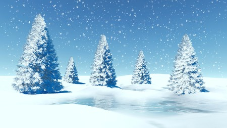 Simple winter landscape. Snowy firs and frozen lake among snowbanks at snowfall day. Stock Photo