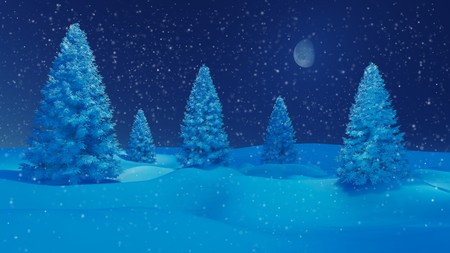 snowbanks: Dreamlike winter landscape. Snowy firs among snowbanks at snowfall night with a half moon Stock Photo