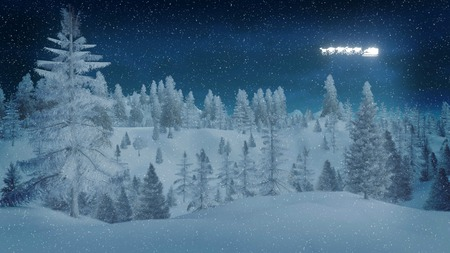 Dreamlike winter night in a snowy spruce forest and silhouette of Santa Claus on his sleigh in the sky Stock Photo