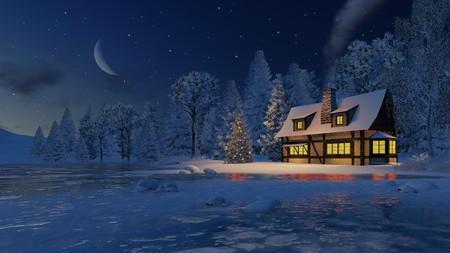 cabaña: Iluminado casa rústica con chimenea humeante y decorado árbol de Navidad en la orilla de un lago congelado bajo el cielo estrellado de la noche con una media luna