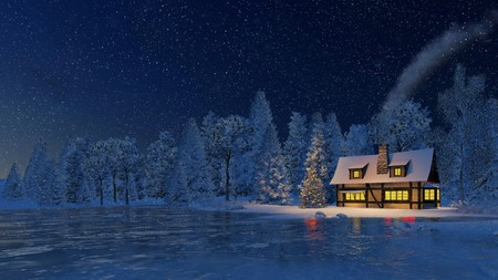 Illuminated rustic house with smoking chimney and luminous windows and decorated Christmas tree at snowfall winter night