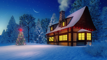 half moon: Rustic house with smoking chimney and illuminated christmas tree under starry night sky with a half moon