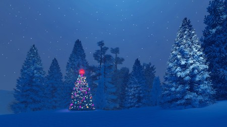 Decorated christmas tree among snowy fir trees under starry night sky