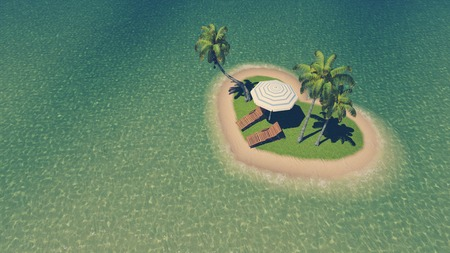 resort beach: Top-down view on a small heart shaped tropical island with sunbeds, parasol and few palm trees among clear ocean at daytime. Illustration was done from my own 3D rendering file.