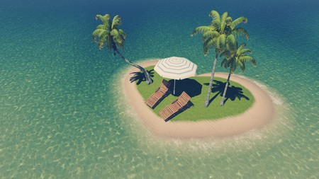 topdown: Top-down view on a tiny heart shaped tropical island with deck chairs, parasol and few palm trees among calm ocean at daytime. Illustration was done from my own 3D rendering file. Stock Photo
