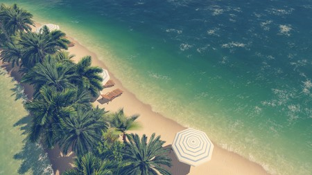sandbank: Sandy tropical beach with palm trees, deck chairs and parasols on a narrow sandbank among clear ocean. Aerial view. Stock Photo