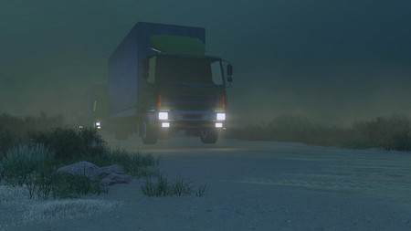 autotruck: Military trucks with luminous headlights move on a desert road at night. Low angle view. Realistic 3D illustration was done from my own 3D rendering file. Stock Photo